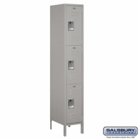 "Extra Wide 15"" Standard Metal Locker - Triple Tier - 1 Wide - 6 Feet High - 18 Inches Deep - Gray, Tan or Blue"
