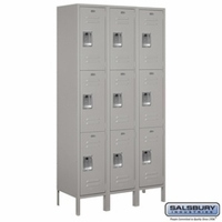"Extra Wide 15"" Standard Metal Locker - Triple Tier - 3 Wide - 6 Feet High - 15 Inches Deep - Gray, Tan or Blue"