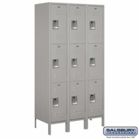 "Extra Wide 15"" Standard Metal Locker - Triple Tier - 3 Wide - 6 Feet High - 18 Inches Deep - Gray, Tan or Blue"