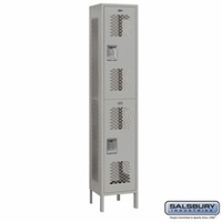 "Extra Wide 15"" Vented Metal Locker - Double Tier - 1 Wide - 6 Feet High - 15 Inches Deep - Gray, Tan or Blue"