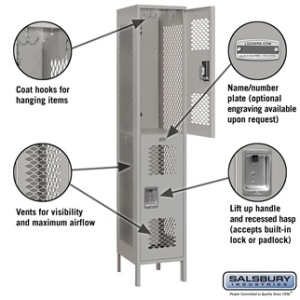 "Extra Wide 15"" Vented Metal Locker - Double Tier - 1 Wide - 6 Feet High - 18 Inches Deep - Gray, Tan or Blue"