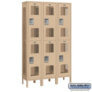 "Extra Wide 15"" Vented Metal Locker - Double Tier - 3 Wide - 6 Feet High - 15 Inches Deep - Gray, Tan or Blue"