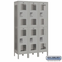 "Extra Wide 15"" Vented Metal Locker - Double Tier - 3 Wide - 6 Feet High - 18 Inches Deep - Gray, Tan or Blue"