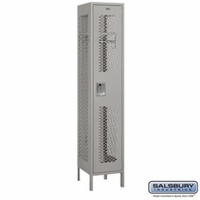 "Extra Wide 15"" Vented Metal Locker - Single Tier - 1 Wide - 6 Feet High - 18 Inches Deep - Gray, Tan or Blue"
