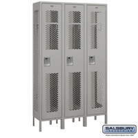 "Extra Wide 15"" Vented Metal Locker - Single Tier - 3 Wide - 6 Feet High - 15 Inches Deep - Gray, Tan or Blue"