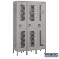 "Extra Wide 15"" Vented Metal Locker - Single Tier - 3 Wide - 6 Feet High - 18 Inches Deep - Gray, Tan or Blue"