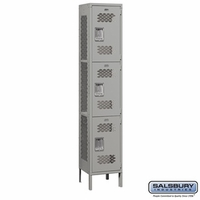 "Extra Wide 15"" Vented Metal Locker - Triple Tier - 1 Wide - 6 Feet High - 15 Inches Deep - Gray, Tan or Blue"