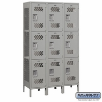 "Extra Wide 15"" Vented Metal Locker - Triple Tier - 3 Wide - 6 Feet High - 15 Inches Deep - Gray, Tan or Blue"