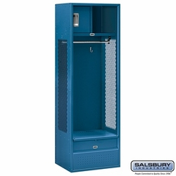 Open Access Standard Metal Locker - 6 Feet High - 18 Inches Deep - Blue