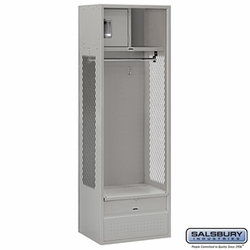 Open Access Standard Metal Locker - 6 Feet High - 18 Inches Deep - Gray