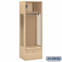 Open Access Standard Metal Locker - 6 Feet High - 18 Inches Deep - Tan