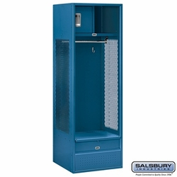 Open Access Standard Metal Locker - 6 Feet High - 24 Inches Deep - Blue