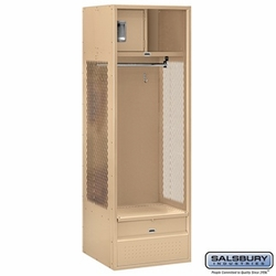 Open Access Standard Metal Locker - 6 Feet High - 24 Inches Deep - Tan