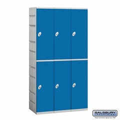 Plastic Locker - Double Tier - 3 Wide - 73 Inches High - 18 Inches Deep - Blue