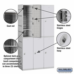 Plastic Locker - Double Tier - 3 Wide - 73 Inches High - 18 Inches Deep - Gray