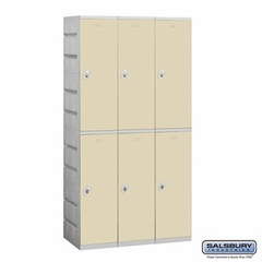Plastic Locker - Double Tier - 3 Wide - 73 Inches High - 18 Inches Deep - Tan