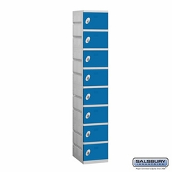 Plastic Locker - Eight Tier - 1 Wide - 73 Inches High - 18 Inches Deep - Blue