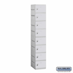 Plastic Locker - Eight Tier - 1 Wide - 73 Inches High - 18 Inches Deep - Gray