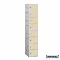 Plastic Locker - Eight Tier - 1 Wide - 73 Inches High - 18 Inches Deep - Tan