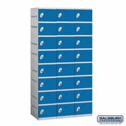 Plastic Locker - Eight Tier - 3 Wide - 73 Inches High - 18 Inches Deep - Blue