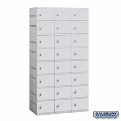 Plastic Locker - Eight Tier - 3 Wide - 73 Inches High - 18 Inches Deep - Gray