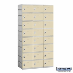 Plastic Locker - Eight Tier - 3 Wide - 73 Inches High - 18 Inches Deep - Tan