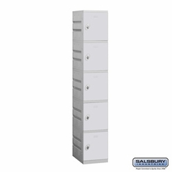 Plastic Locker - Five Tier - 1 Wide - 73 Inches High - 18 Inches Deep - Gray