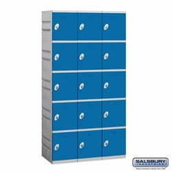 Plastic Locker - Five Tier - 3 Wide - 73 Inches High - 18 Inches Deep - Blue