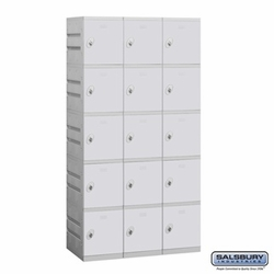 Plastic Locker - Five Tier - 3 Wide - 73 Inches High - 18 Inches Deep - Gray