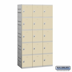 Plastic Locker - Five Tier - 3 Wide - 73 Inches High - 18 Inches Deep - Tan