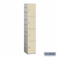 Plastic Locker - Four Tier - 1 Wide - 73 Inches High - 18 Inches Deep - Tan