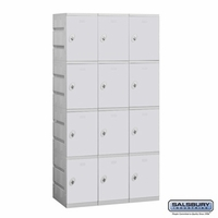 Plastic Locker - Four Tier - 3 Wide - 73 Inches High - 18 Inches Deep - Gray