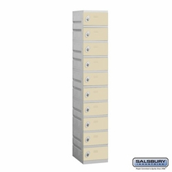 Plastic Locker - Ten Tier - 1 Wide - 73 Inches High - 18 Inches Deep - Tan