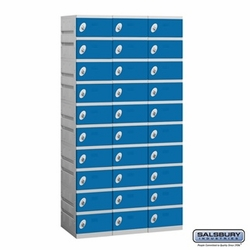 Plastic Locker - Ten Tier - 3 Wide - 73 Inches High - 18 Inches Deep - Blue
