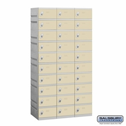 Plastic Locker - Ten Tier - 3 Wide - 73 Inches High - 18 Inches Deep - Tan