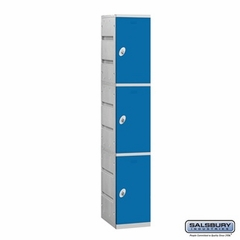 Plastic Locker - Triple Tier - 1 Wide - 73 Inches High - 18 Inches Deep - Blue