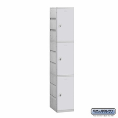 Plastic Locker - Triple Tier - 1 Wide - 73 Inches High - 18 Inches Deep - Gray