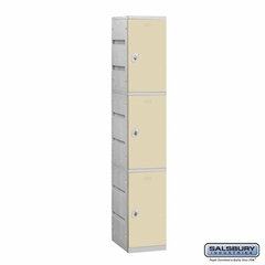 Plastic Locker - Triple Tier - 1 Wide - 73 Inches High - 18 Inches Deep - Tan