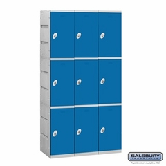 Plastic Locker - Triple Tier - 3 Wide - 73 Inches High - 18 Inches Deep - Blue