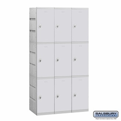 Plastic Locker - Triple Tier - 3 Wide - 73 Inches High - 18 Inches Deep - Gray