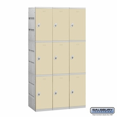 Plastic Locker - Triple Tier - 3 Wide - 73 Inches High - 18 Inches Deep - Tan