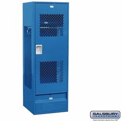 Standard Gear Metal Locker - Ventilated Door - 6 Feet High - 24 Inches Deep - Blue