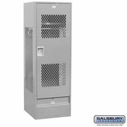 Standard Gear Metal Locker - Ventilated Door - 6 Feet High - 24 Inches Deep - Gray