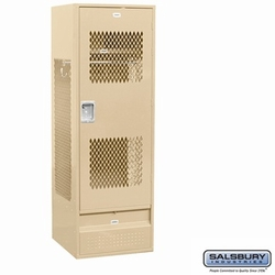 Standard Gear Metal Locker - Ventilated Door - 6 Feet High - 24 Inches Deep - Tan