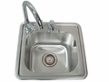 """Sink with Hot/Cold Water Faucet & Built-in Soap Dispensor 15"""" x 15"""" x 9"""" by FLO Grills™"""