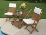 2 Sailor Teak Armchairs with Tray Cart