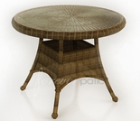 """30"""" Round Wicker Forever Patio Rockport Dining Table with Glass Top"""