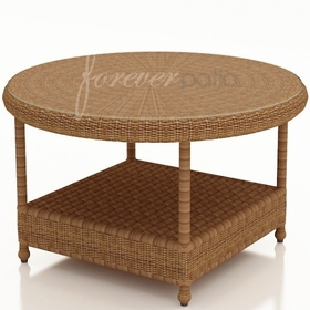 """36"""" Round Wicker Forever Patio Catalina Chat Table with Glass Top"""