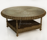 """36"""" Round Wicker Forever Patio Rockport Chat Table with Glass Top"""