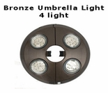 4 Light Bronze Umbrella Light to fit in straight pole umbrellas